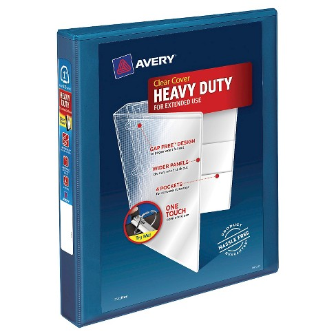 "Avery® 1"" Heavy Duty 3 Ring Binder with Clear Cover Blue - image 1 of 2"