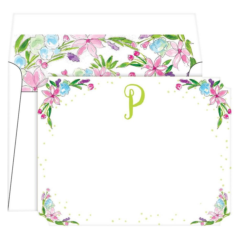 Die-Cut Social Set Floral Crest Monogram - P, Multicolored