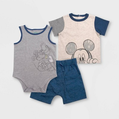 Baby Boys' 3pc Mickey Mouse Bodysuit Set - Blue/Gray/Beige 3-6M