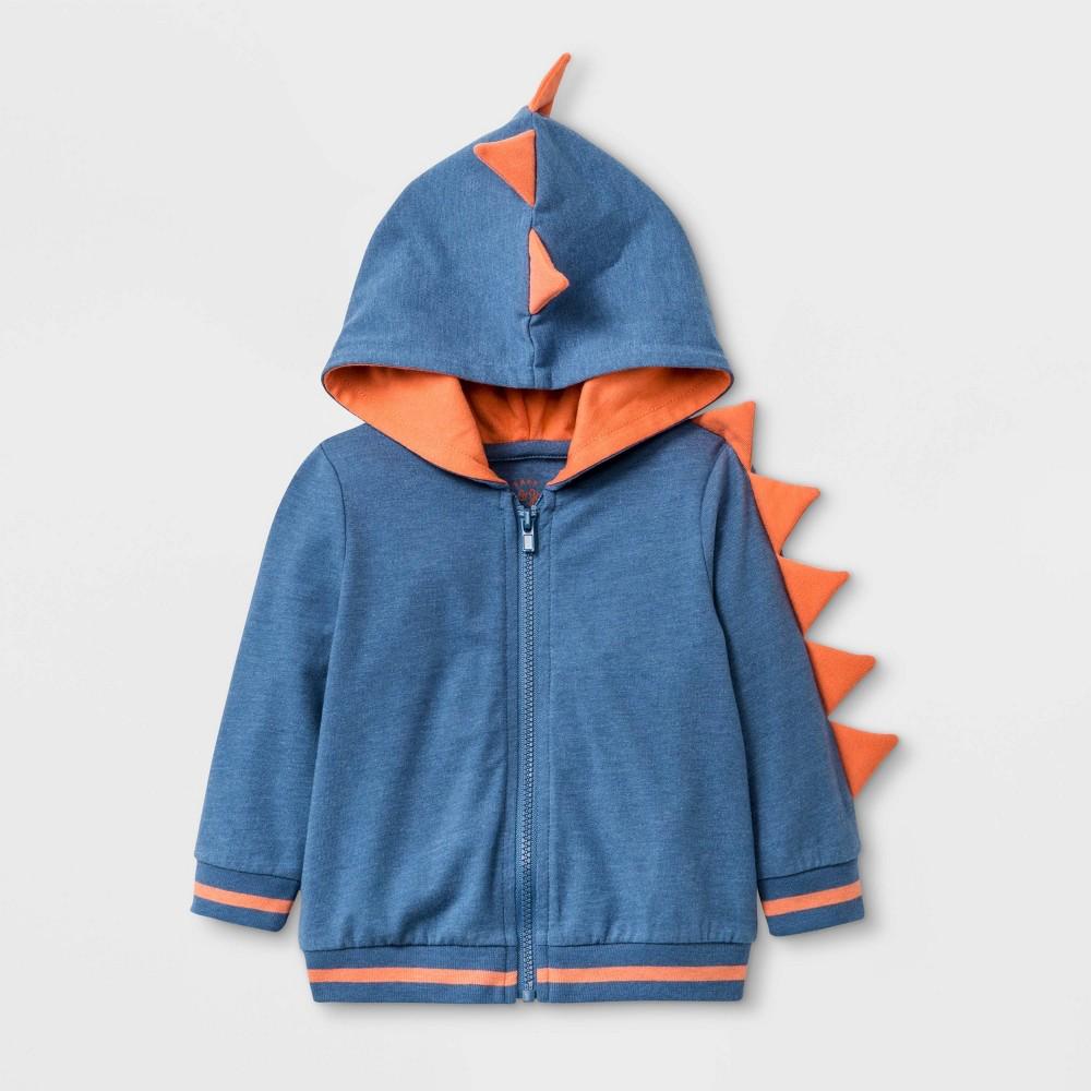 Image of Baby Boys' Dino Layering Hoodie Jacket - Cat & Jack Blue 0-3M, Boy's