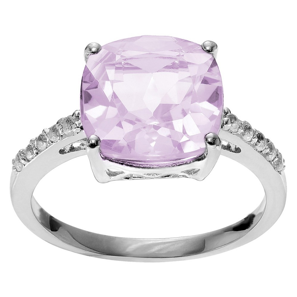 1 3/4 CT. T.W. Cushion-Cut Amethyst Accent Prong-Set Ring in Sterling Silver - Pink (8), Girl's