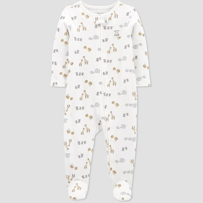 Baby Safari Interlock One Piece Pajama - Just One You® made by carter's White Newborn
