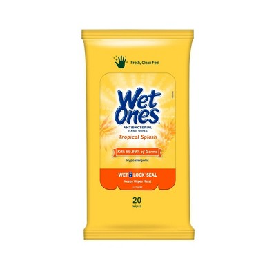 Wet Ones Antibacterial Hand Wipes Travel Pack - Tropical Splash - 20ct