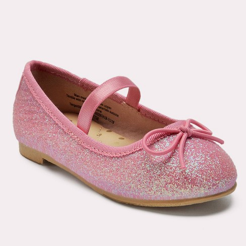 Toddler Girls' Lily Glitter Ballet Flats - Cat & Jack™ Pink - image 1 of 3