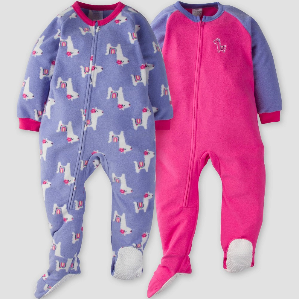 Gerber Toddler Girls' 2pk Llama Micro Fleece Blanket Sleeper - Pink/Purple 5T