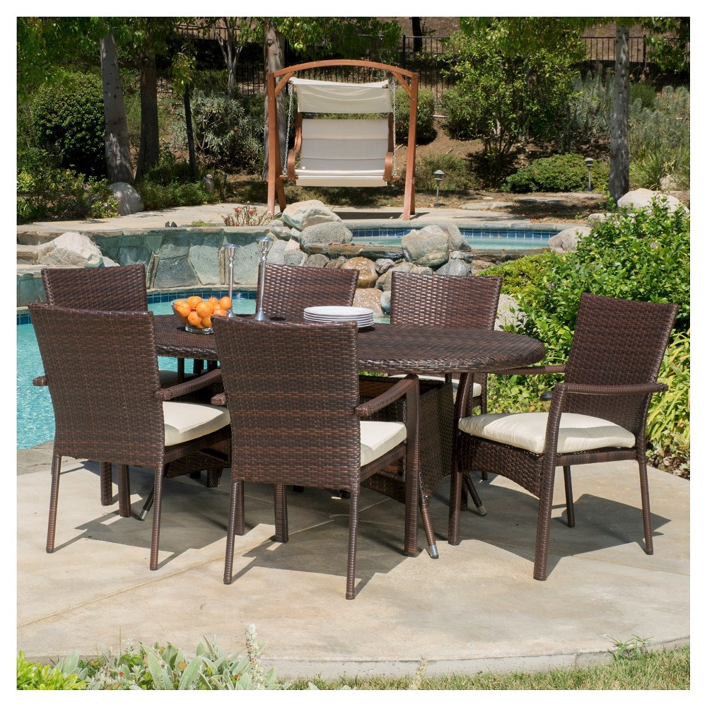 McNeil 7pc Wicker Dining Set with Cushions - Multibrown - Christopher Knight Home, Brown