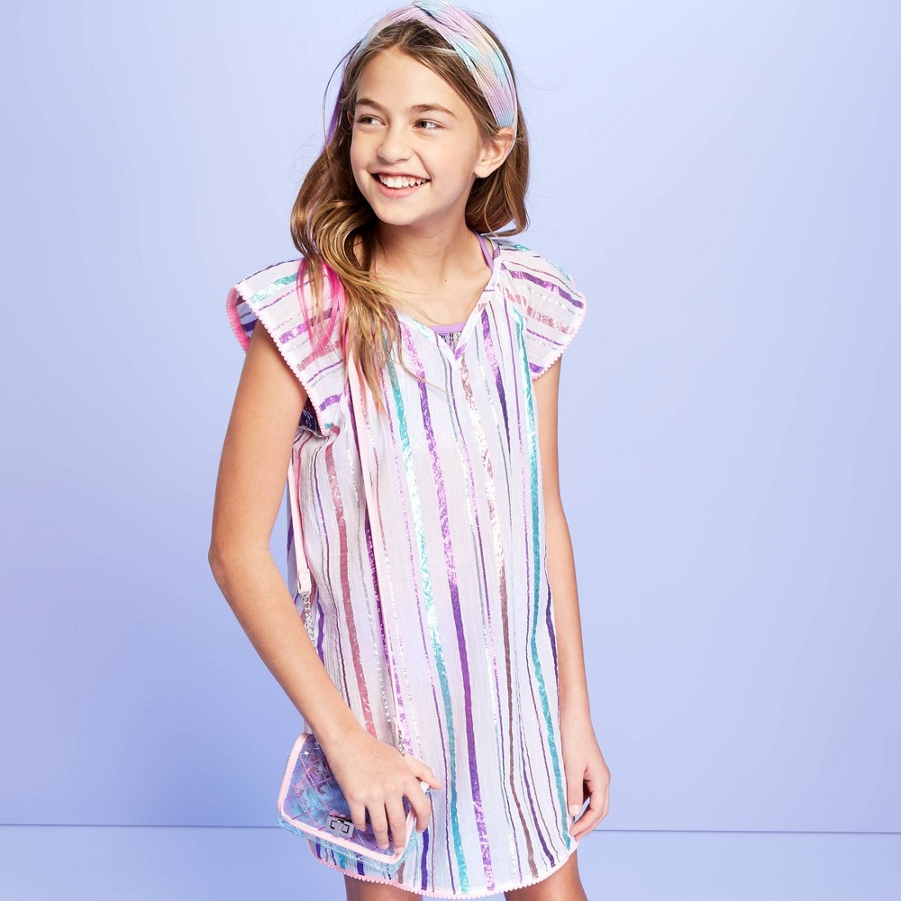 Image of Girls' Crinkle Gauze with Lryex Cover Up - More Than Magic White M, Girl's, Size: Medium