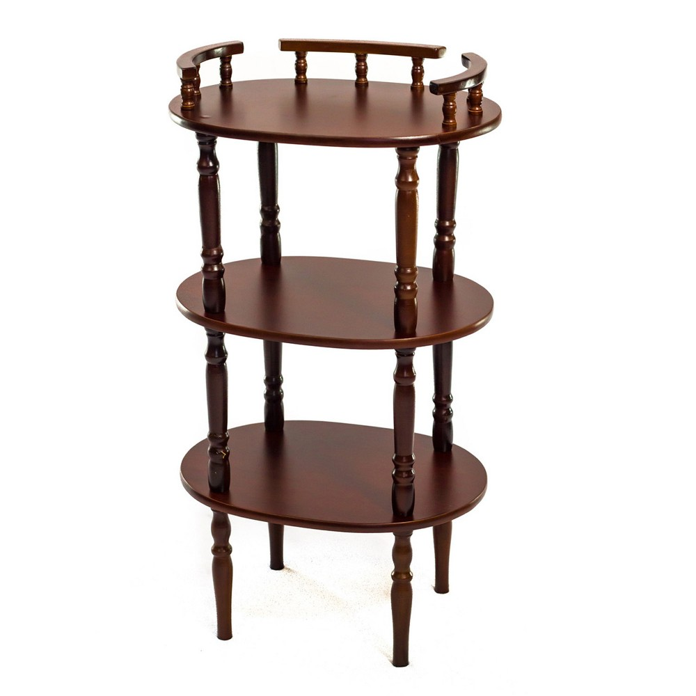 Accent Table Wood Brown - Home Source Industries Enhance a space in your home and display your telephone at the same time with the Home Source Gloria 3 Tier Mahogany Oval Telephone Stand. This piece includes two bottom shelves perfect for displaying your address books, magazines, mail or other accessories. The Home Source Gloria 3 Tier Mahogany Oval Telephone Stand is a functional accent piece for any home. The three shelves will offer you multiple display shelf space that you can customize with whatever you see fit. Gently molded legs add traditional appeal to this contemporary design. Color: Brown.