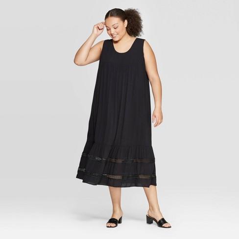 Women\'s Plus Size Sleeveless Scoop Neck Tie Back Summer Dress - Who ...