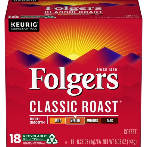 Folgers Gourmet Selections Classic Medium Roast Coffee - Keurig K-Cups Pods - 18ct - image 1 of 4