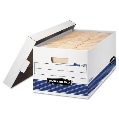 Bankers Box STOR/FILE Storage Box Legal Locking Lid White/Blue 4/Carton 0070205