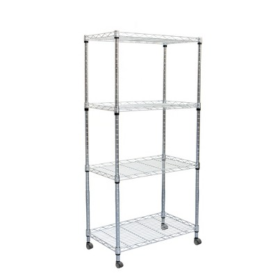 Mind Reader Adjustable 4-Tier Heavy Duty Utility Rolling Cart and Mobile Chrome Steel Shelf Organizer