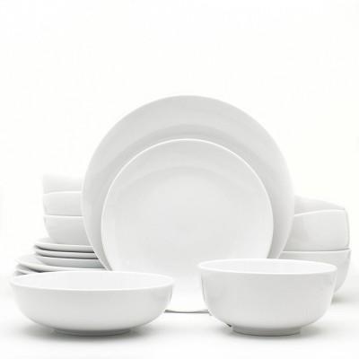 16pc Ceramic Essential Dinnerware Set White - Euro Ceramica