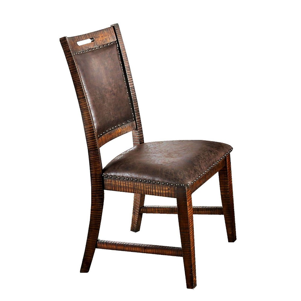 Set Of 2 Leatherette Wooden Side Chairs With Nailhead Trims Brown Benzara