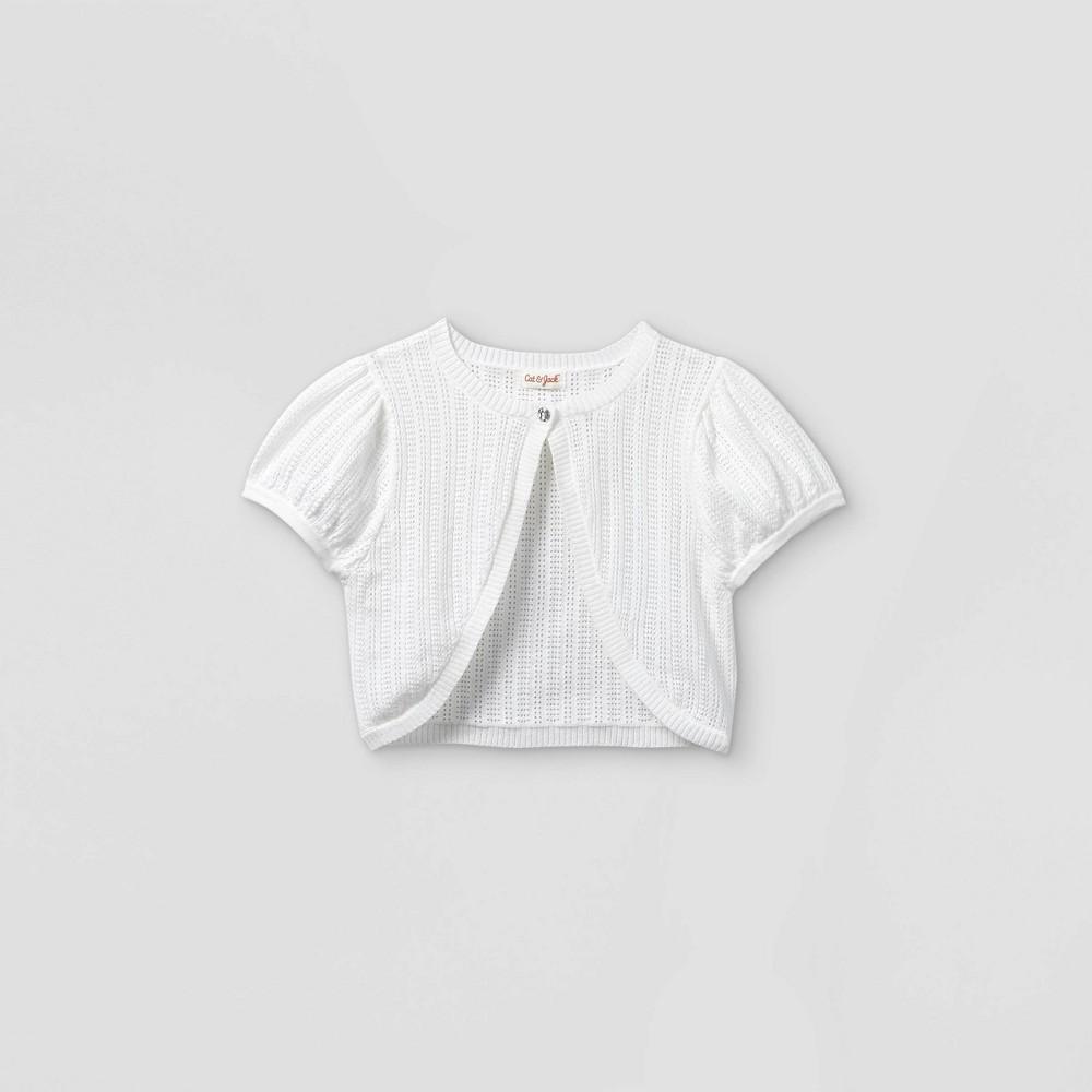 Girls 39 Shrug Short Sleeve Sweater Cat 38 Jack 8482 White Xs