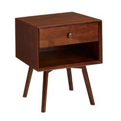Mid-Century 1 Drawer Solid Wood Nightstand  - Saracina Home