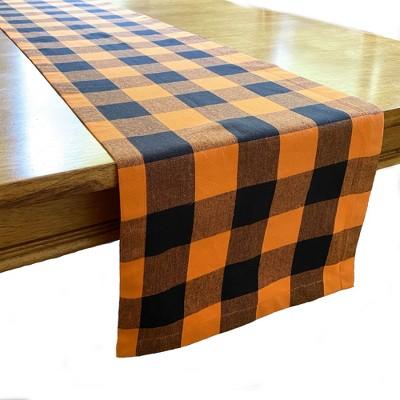 "Farmhouse Living Fall Buffalo Check Halloween Table Runner - 13"" x 70"" - Black/Orange - Elrene Home Fashions"