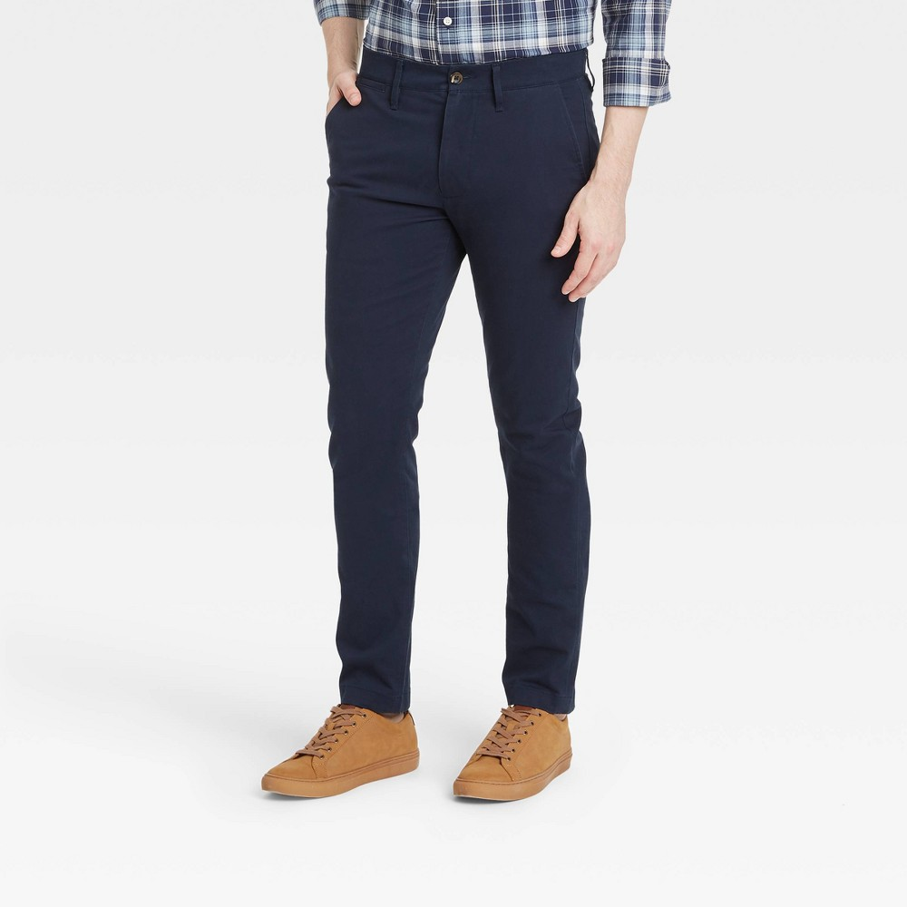 Men 39 S Skinny Fit Chino Pants Goodfellow 38 Co 8482 Blue 32x34