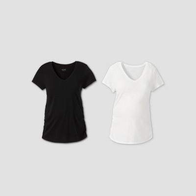 Maternity Short Sleeve V-Neck Side Shirred 2pk Bundle T-Shirt - Isabel Maternity by Ingrid & Isabel™