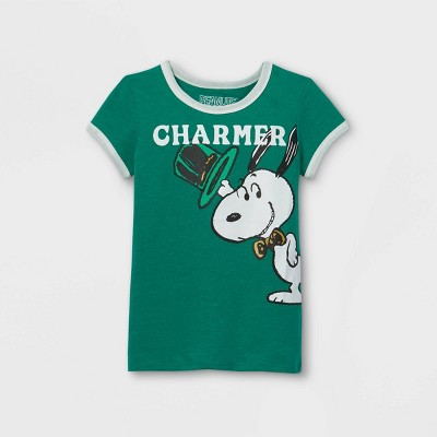 Girls' Peanuts Snoopy Charmer Short Sleeve Graphic T-Shirt - Green