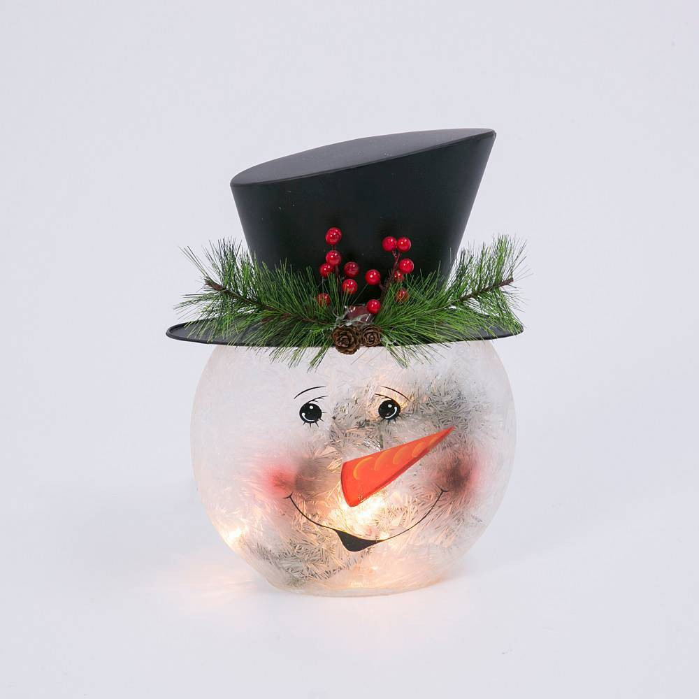 "Image of ""11"""" Frosted Glass Snowman Lamp Decorative Figurine - Gerson International"""