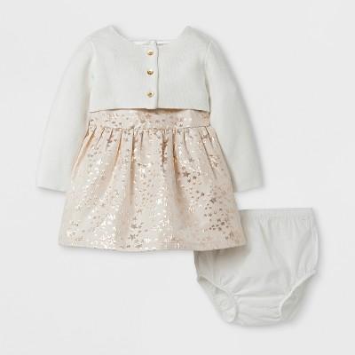 Baby Girls' Jacquard Star Dress with Sweater - Cat & Jack™ Gold/Cream NB