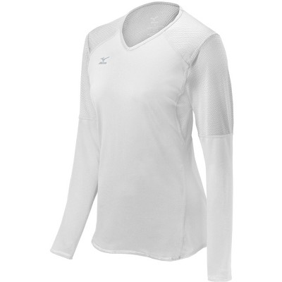 Mizuno Womens Fitted Long Sleeve V Neck Athletic T-shirt - White Large