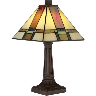 "Robert Louis Tiffany Mission Accent Table Lamp 14 1/4"" High LED Art Deco Stained Glass Shade for Bedroom Bedside Nightstand Office"