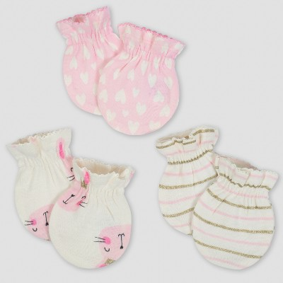 Gerber® Baby Girls' 3pk Mittens Princess - Pink/Cream 0/3M