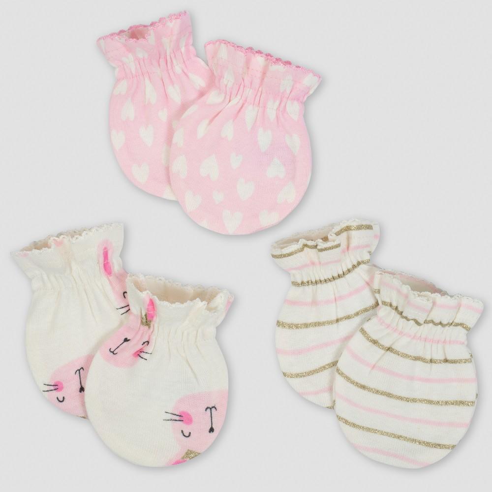 Gerber Baby Girls' 3pk Mittens Princess - Pink/Cream (Pink/Ivory) 0/3M