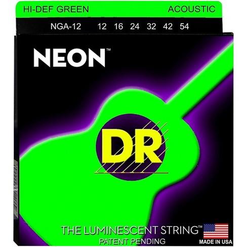 DR Strings NGA-12 NEON Hi-Def Phosphorescent Green Acoustic Strings Medium - image 1 of 1