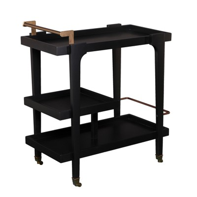 Zhori Midcentury Modern Bar Cart Black - Holly & Martin