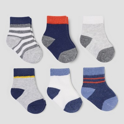 Baby Boys' 6pk Stripe Crew Socks - Just One You® made by carter's Navy/Gray 3-12M