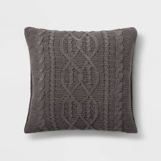 Cable Knit Chenille Oversize Square Pillow Gray - Threshold™