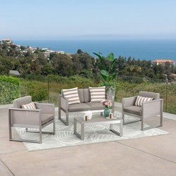 Fisher Island 4pc Aluminum Patio Seating Set - Gray - Christopher Knight Home