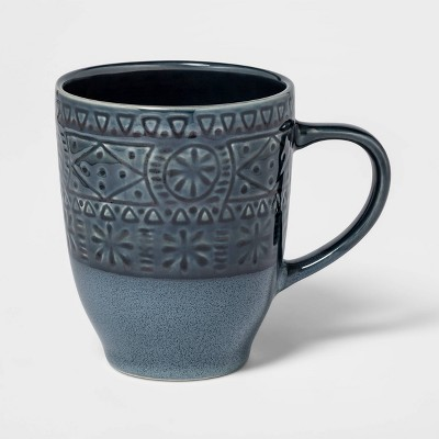 16oz Ceramic Kingfield Debossed Mug Blue - Threshold™