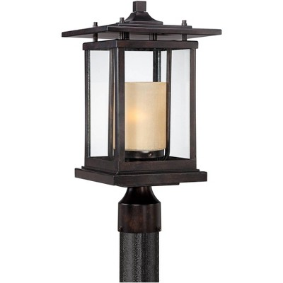 """Franklin Iron Works Modern Outdoor Post Light Bronze Pagoda 17"""" Clear and Amber Frosted Glass for Exterior Garden Yard Patio"""