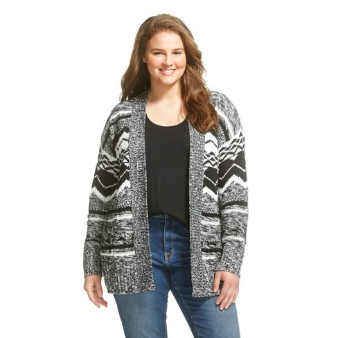 Women's Plus Size Pattern Open Cardigan - Mossimo Supply Co.™ Black - image 1 of 2