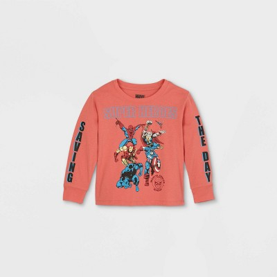 Toddler Boys' Marvel Superheroes 'Saving The Day' Long Sleeve Graphic T-Shirt - Red 12M