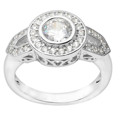 4/5 CT. T.W. Journee Collection Round Cut CZ Pave Set Bridal Ring in Brass - Silver - image 1 of 2
