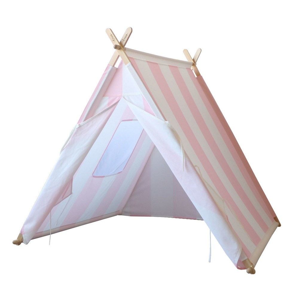 Image of Kids Play Tent Pink And White Stripes - Tnee's Tpees