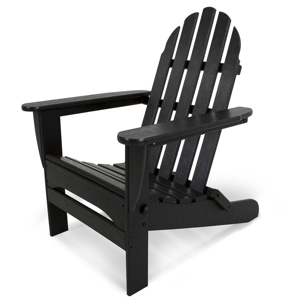 Image of POLYWOOD Classic Folding Patio Adirondack Chair - Black