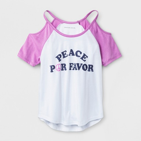 Grayson Social Girls' 'Peace Por Favor' Cold Shoulder Short Sleeve T-Shirt - Pink - image 1 of 1