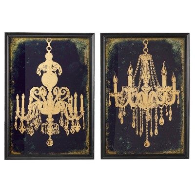 "(Set of 2) 19.5"" x 28"" Large Gold Chandeliers Wall Art on Iron Panels indigo and Metallic - Olivia & May"