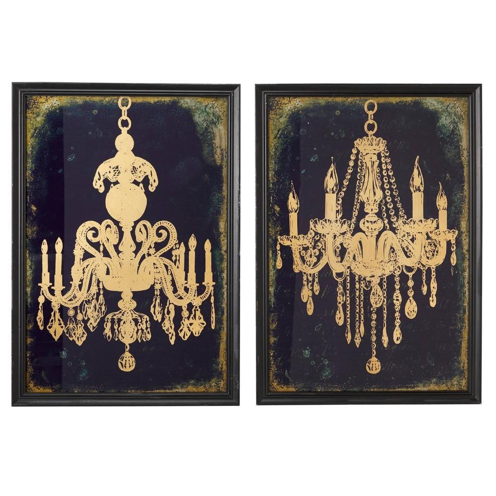 Set Of 2 19 5 34 X 28 34 Large Gold Chandeliers Wall Art On Iron Panels Indigo And Metallic Olivia 38 May