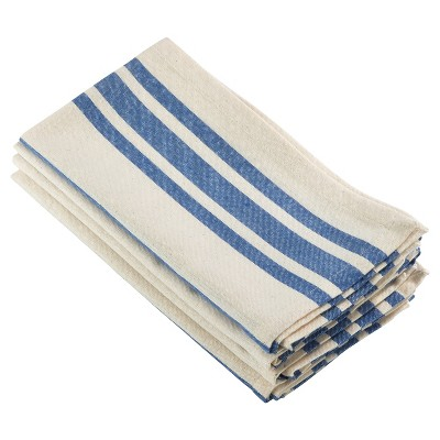 4pk Blue Dauphine Striped Design Napkin 20  - Saro Lifestyle®