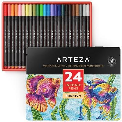 Arteza Fineliner Pens, Inkonic, Fine Line, Assorted Colors - Set of 24