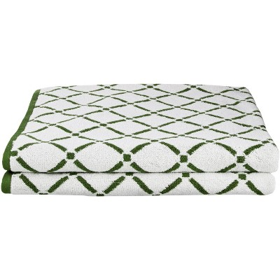 "Plush and Absorbent Cotton Oversized 2-Piece Geometric Diamond 30"" x 52"" Bath Towel Set - Blue Nile Mills"