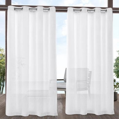Tao Indoor/Outdoor Sheer Linen Grommet Top Window Curtain Panel Pair White - Exclusive Home - image 1 of 4