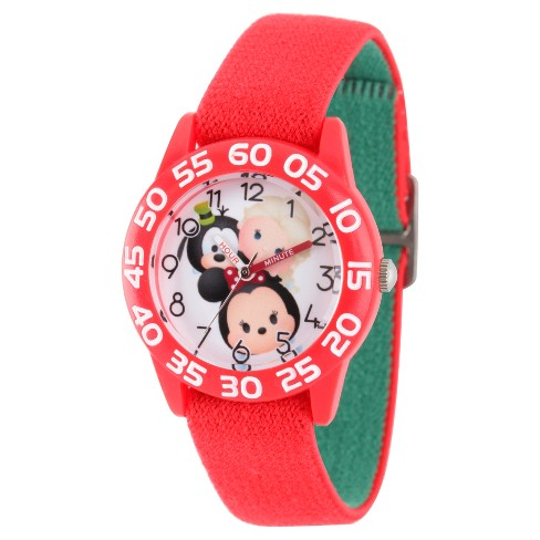 Girls' Disney Tsum Tsum Mickey Mouse/Dumbo/ Mike Wazowski and Snow White Clear Plastic Watch - Red - image 1 of 2
